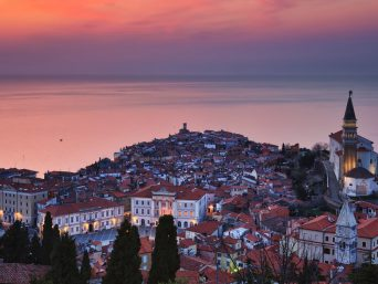 Slovenian city Piran at sunset.